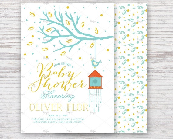 Baby Shower Invitation With Bird House Jpg And Vector Invitation Templates Blank Card Design Black And White Cards