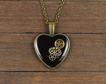 Steampunk black pendant, Steampunk black necklace, black Heart pendant, black Heart necklace, Watch Parts pendant, Watch parts necklace