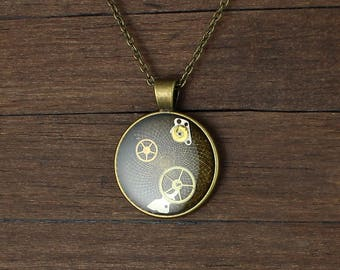 Steampunk pendant, Steampunk necklace, Watch pendant, Watch Parts pendant, Watch parts necklace, Antique brass pendant, Round pendant