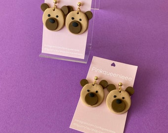 Cute bear clay dangle earrings