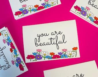 You are beautiful blank greetings card