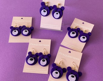 Cute purple bear clay dangle earrings