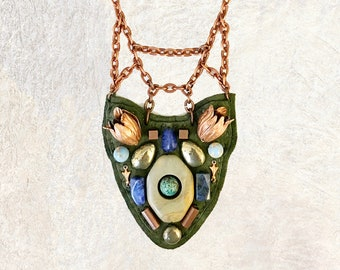 PETITE SHIELD NECKLACE : Rose Gold Tulips, Jasper, Pyrite & Copper Beads on Olive Leather