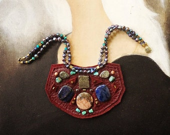 THE SHIELD NECKLACE by Gilded-Mane : Burgundy Deerskin w/ Jasper, Turquoise, Pyrite and Freshwater Pearls, Large