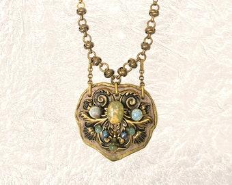 SHIELD PENDANT : Turquoise, Jasper, Jade & Freshwater Pearls on Metallic Leather