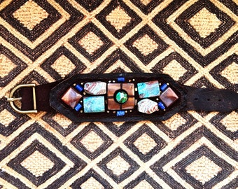 The BOYFRIEND BRACELET by Gilded-Mane: African Turquoise, Mother of Pearl, Sodalite and Brass Beads on Chocolate Leather