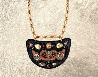 SHIELD NECKLACE : Bronze Metallic Zardozi Embroidery on Black Deerskin Leather