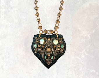 SHIELD PENDANT : Jasper & Antique Brass on Black Leather