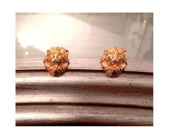 Goldtone Lion's Head Earrings