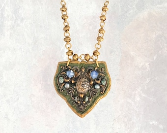 SHIELD PENDANT : Antique Brass, Sodalite and Freshwater Pearl on Olive & Metallic Leather