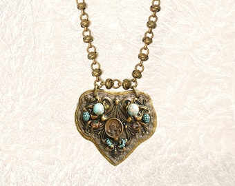 SHIELD PENDANT : Antique Brass, Jasper & Green Brass on Metallic Leather