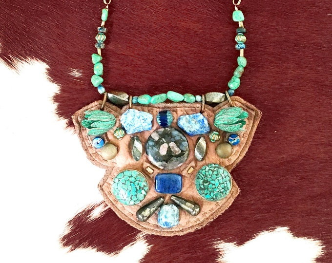 Featured listing image: SHIELD NECKLACE : Turquoise, Raw Agate & Pyrite on Taupe Deerskin Leather