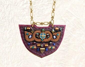 SHIELD NECKLACE : Bronze Metallic Zardozi Embroidery on Burgundy Leather