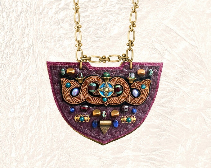 Featured listing image: SHIELD NECKLACE : Bronze Metallic Zardozi Embroidery on Burgundy Leather
