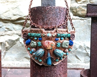 SHIELD NECKLACE : Oxidized Green Brass Tulips, Pyrite & Turquoise on Rose Gold Leather