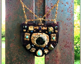 SHIELD NECKLACE : Vintage Brass, Pyrite & Turquoise on Chocolate Suede