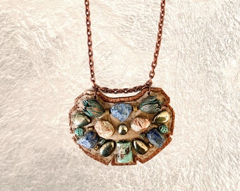 PETITE SHIELD NECKLACE : Turquoise, Raw Agate and Oxidized Green Tulips on Taupe & Rose Gold Leather