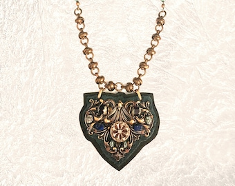 SHIELD PENDANT : Antique Brass, Lapis and Oxidized Green Brass on Slate Leather & Brown Fur