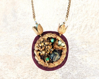 3D SHIELD NECKLACE : Vintage Brass Flowers w/ Turquoise & Sodalite on Plum Leather