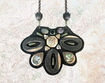 SHIELD NECKLACE : Abalone Shell & Czech Glass on Black Leather