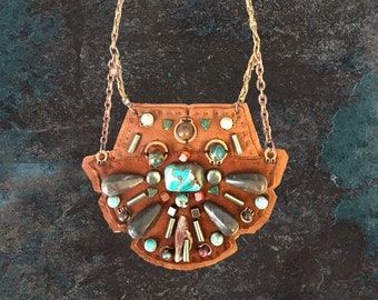 SHIELD NECKLACE : Turquoise, Jasper and Pyrite on Cognac Suede