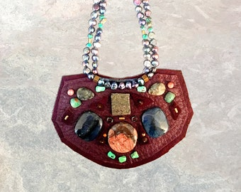 SHIELD NECKLACE : Burgundy Deerskin w/ Jasper, Turquoise, Pyrite & Freshwater Pearls