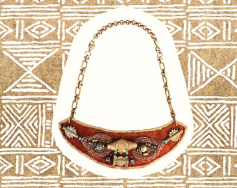 CONVERTIBLE NECKLACE : Zardozi Embroidery and African Brass on Cognac Suede & Bronze Leather