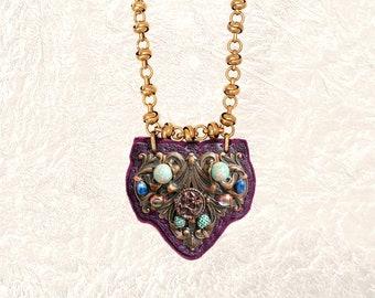 SHIELD PENDANT : Antique Brass, Jasper & Sodalite on Plum Leather