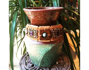 The EMBELLISHED COLLAR by Gilded-Mane: Mother of Pearl, Aqua Impression Jasper & Reclaimed Vintage Jewelry on Apricot Leather