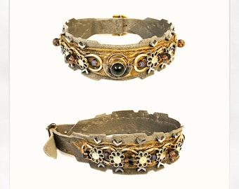 The EMBELLISHED COLLAR by Gilded-Mane: Antique Silver on Bronze & Warm Grey Leather
