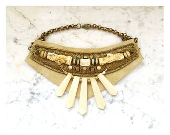 The EMBELLISHED COLLAR by Gilded-Mane: Bone, Mother-of-Pearl and Vintage Inlaid Prayer Beads on Bronze & Ivory Leather