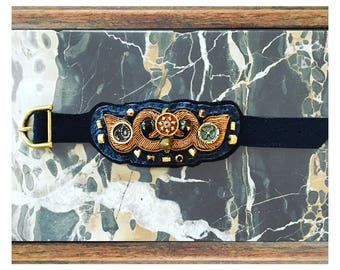 The CUFF BRACELET by Gilded-Mane: Gold Bullion, Vintage Buttons & Brass Beads on Navy and Black Leather