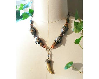 PENDANT NECKLACE: Oxidized Green Brass Tulips w/ Brass Tooth Shaped Pendant