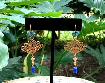 GILDED-MANE EARRINGS : Copper Fan, Oxidized Green Brass & Purple Sodalite