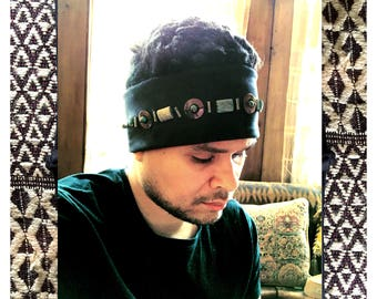 THE WINTER HEADBAND by Gilded-Mane : African Turquoise, Mother of Pearl & Pyrite Beads on Faux-Suede w/ Comfort Stretch, Black