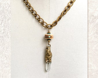 PENDANT NECKLACE : Gilded Mineral Pendant w/ RARE Vintage Shark Vertebrae Disc Inlaid with Turquoise & Coral
