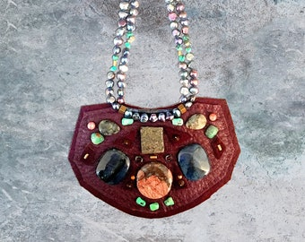 SHIELD NECKLACE : Burgundy Deerskin w/ Jasper, Turquoise, Pyrite & Freshwater Pearls