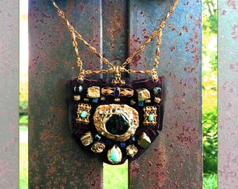 THE SHIELD NECKLACE by Gilded-Mane : Vintage Brass Jewelry, Pyrite & Turquoise on Chocolate Deerskin Leather