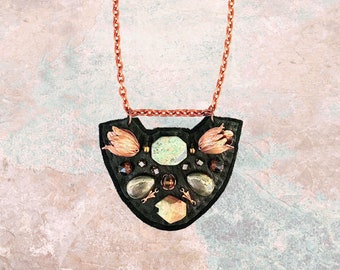 PETITE SHIELD NECKLACE : Rose Gold Tulips, African Turquoise & Pyrite on Black Leather