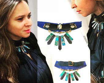 The EMBELLISHED COLLAR by Gilded-Mane: Jasper, Turquoise, Pyrite and Wood Beads on Blue & Black Leather