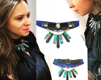 EMBELLISHED COLLAR : Turquoise, Jasper, Pyrite and Wood Beads on Purple & Black Suede Leather