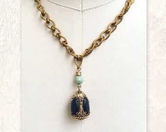 "PENDANT NECKLACE : Vintage Brass Fob w/ Blue ""Stones"" & Green Jasper"