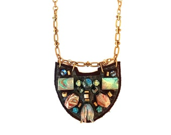 PETITE SHIELD NECKLACE : African Turquoise & Lapis on Chocolate Leather