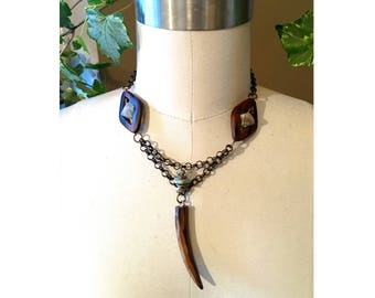 THIRD EYE NECKLACE : Wood, Agate & Turquoise