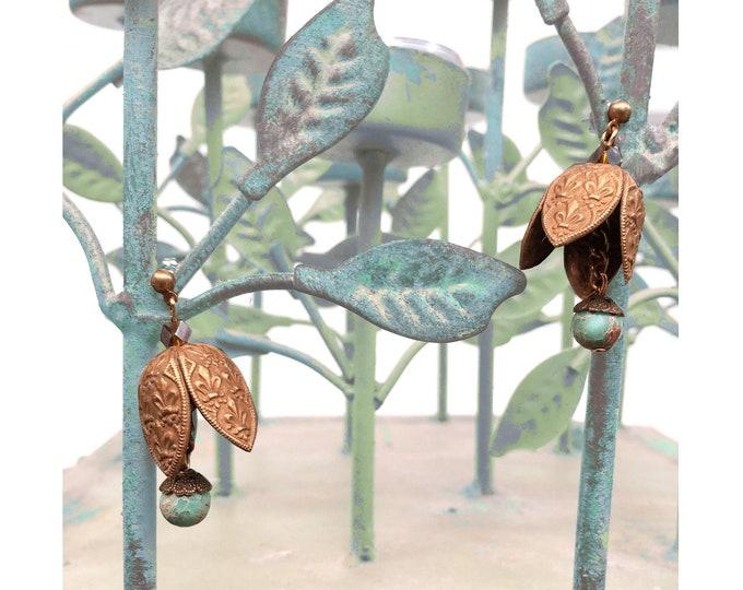 Featured listing image: EARRINGS : Vintage Brass French Fleur-de-Lis & Green Jasper