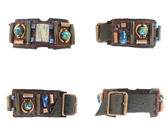 The BOYFRIEND BRACELET by Gilded-Mane: Jasper, Turquoise, Sodalite, Copper & Wood Beads on Brown Leather