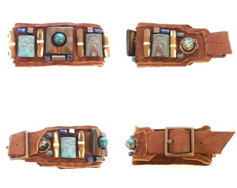 The BOYFRIEND BRACELET by Gilded-Mane: Jasper, Turquoise, Sodalite, Copper & Wood Beads on Cognac Leather