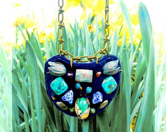 PETITE SHIELD NECKLACE : Hand-Blown Glass, Turquoise, Agate and Brass Tulips on Navy Leather & Fur