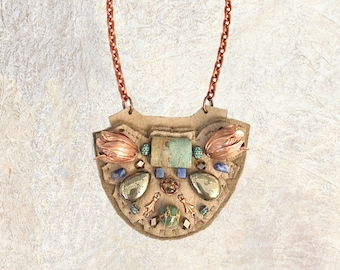 PETITE SHIELD NECKLACE : Rose Gold Tulips, African Turquoise, Pyrite & Sodalite on Taupe Leather