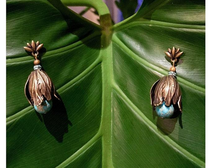 Featured listing image: GILDED-MANE EARRINGS : Antique Brass Tulips w/ Green Jasper